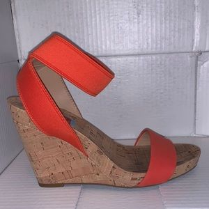 Cork wedges with red/orange straps